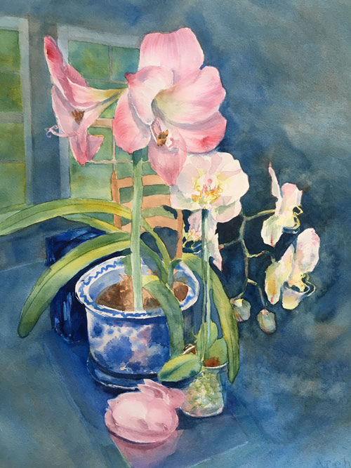 "Debbie Lester ""Still Life with Amarylis"""