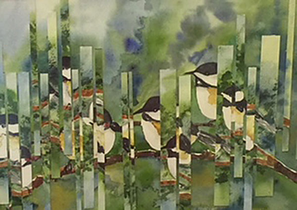 "Honorable Mention - ""Black-Capped Caicadee Collage"" by Barbara Delligatti"