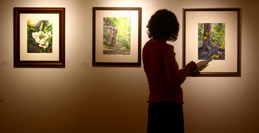 A visitor to Aqueous 2018 is silhouetted against paintings by Sidra Kaluszka, Linda Elmer and Ronda Albright.