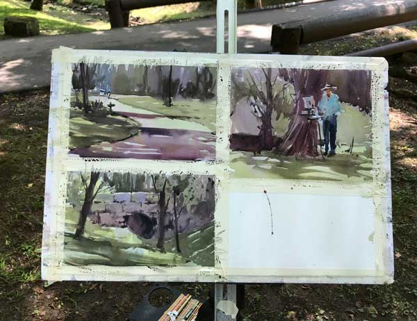 Some quick demo paintings by instructor Brienne Brown.
