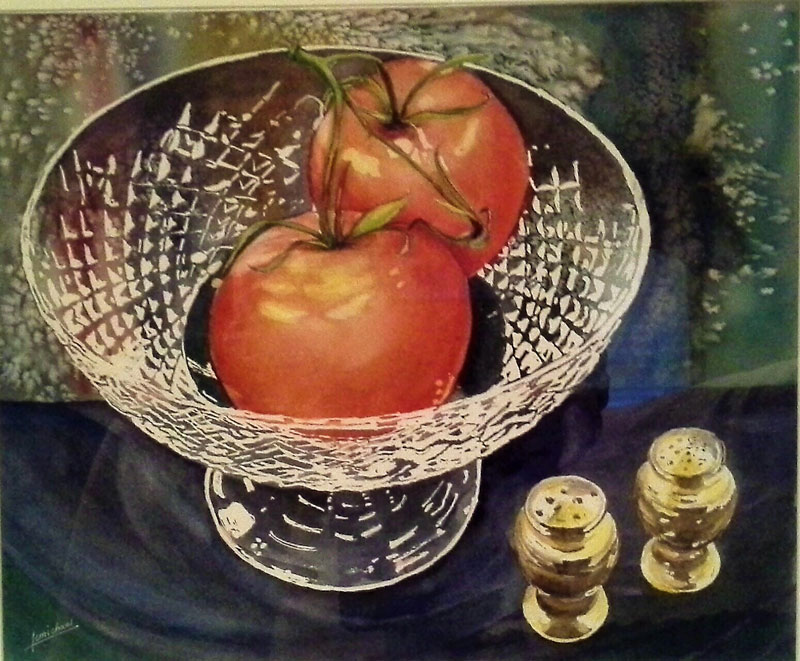 A painting of the West Virginia '63 tomato in a crytal bowl