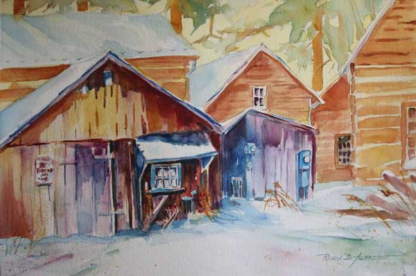 Ronda Albright- Alpine Village in Winter watercolor