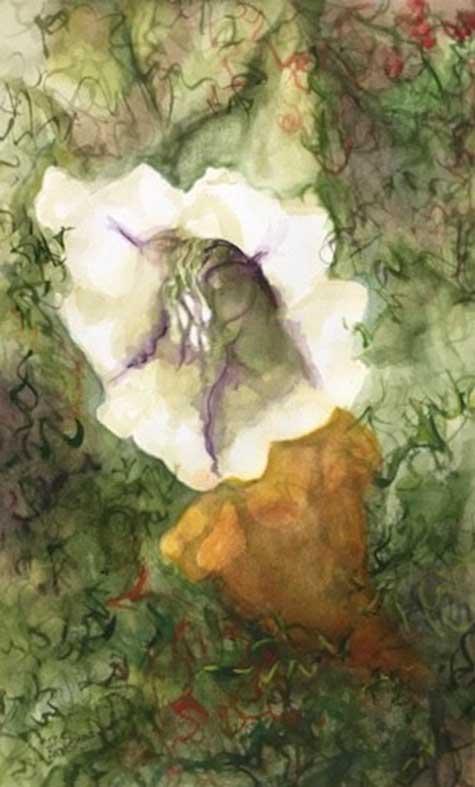 Ina Armstrong - Trumpet Blooms watercolor