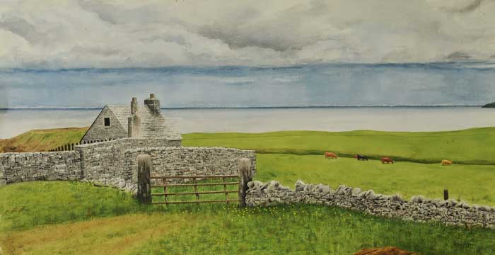 John Coffey - Rain on the North Sea watercolor