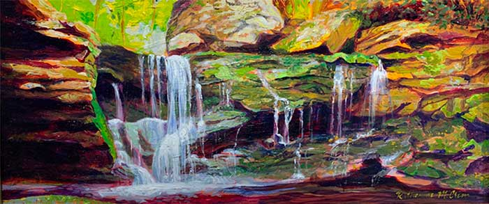 Katherine Crim painting of a waterfall