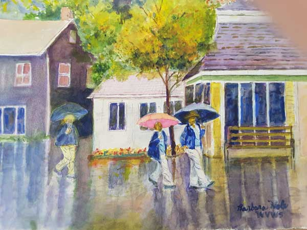 Barbara Hale - Walking in the Rain watercolor