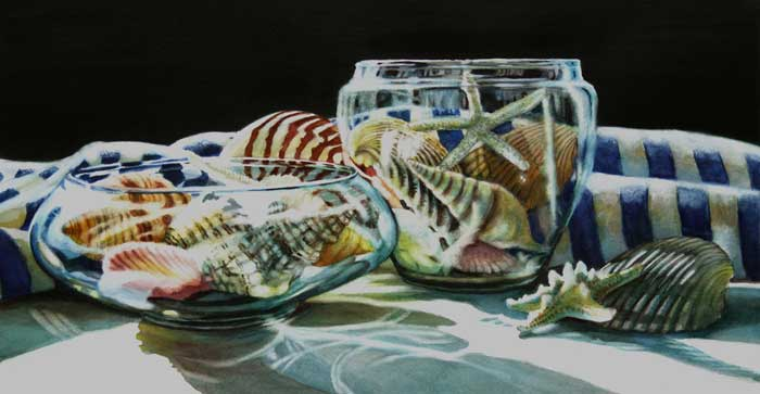 Ardythe Jolliff painting of glassware filled with seashells