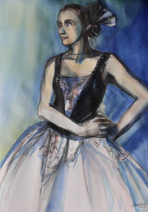Gina Judy - Blue-eyed Ballerina Back Stage in Spanish Dress watercolor