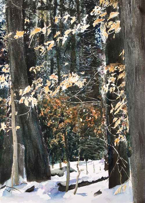 Rick Kowalewski - Winter Leaves watercolor