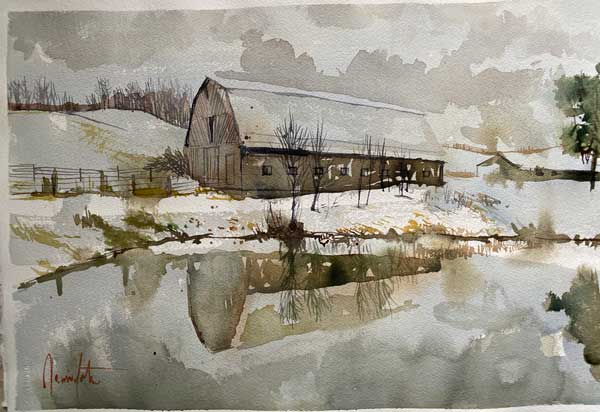 Jamie Lester - Winter Reflections watercolor