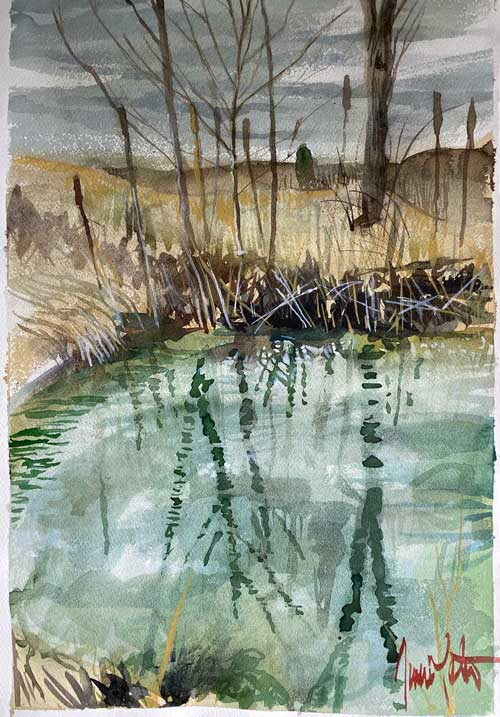 Jamie Lester - Algae Pond watercolor