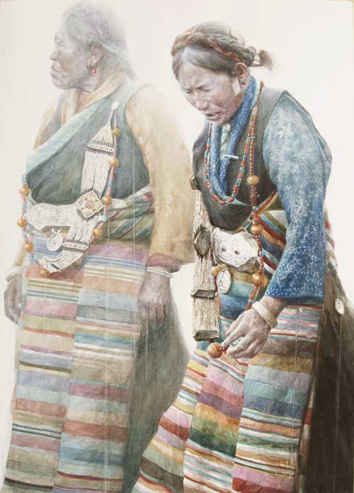 Dongfeng Li painting of two Tibetan women