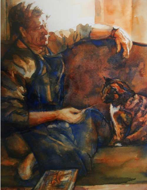 Sandra Pealer painting of male artist on couch with a cat