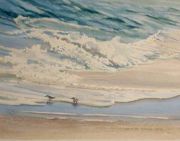 Christine Rhodes painting of two birds walking along the edge a beach