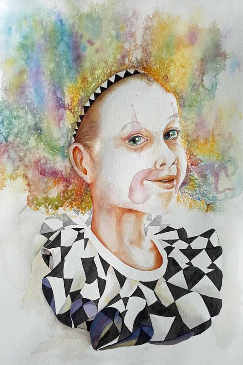 Jeannine Romano, - Turn a Frown Upside Down watercolor