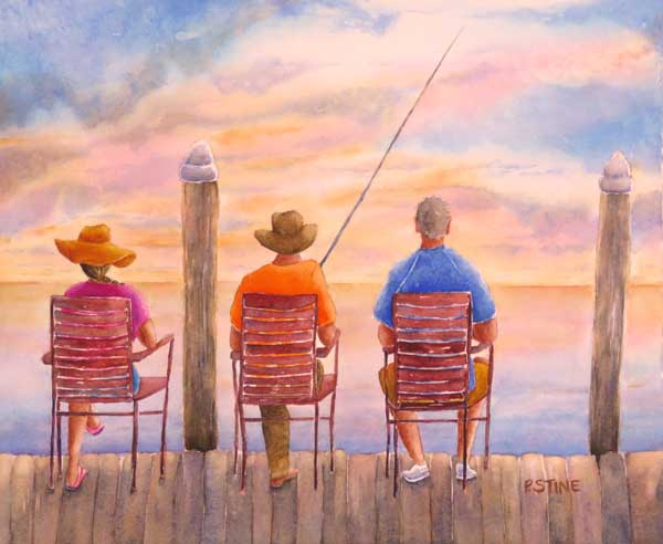 Patricia Stine - Waiting Game watercolor