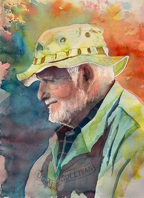 Kay Sullivan - Man in Beatty Saloon watercolor