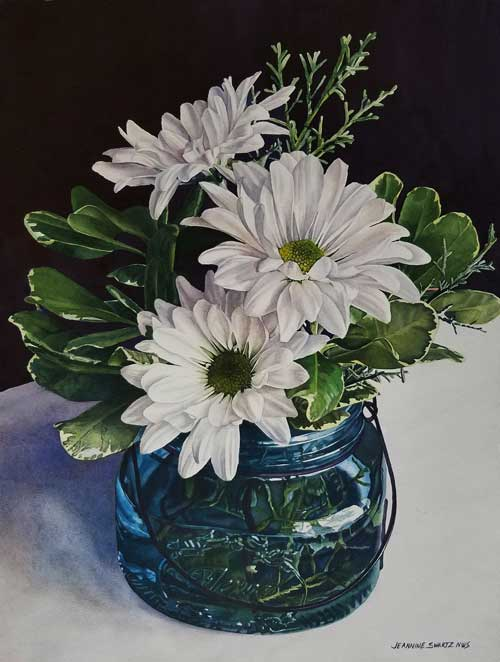 Jeannine Swartz painting of daisies in a blue jar