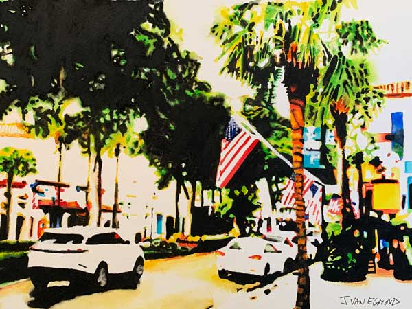 Jan van Egmond - Fort Lauderdale Street watercolor