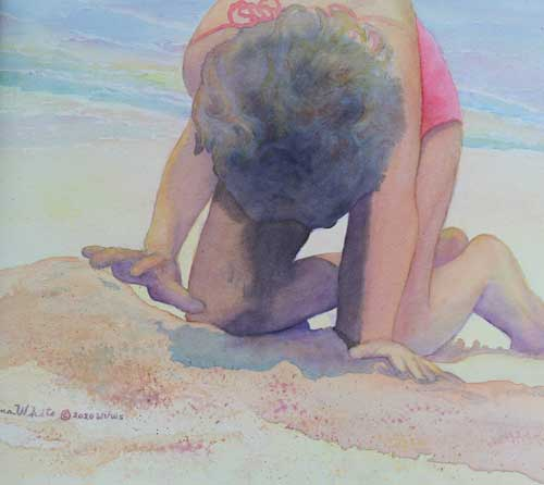 Rema White painting of a child playing in the sand